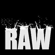 """image made in photoshop by Carole Jones combining 5 images to make the word """"Raw"""" from photos of milk splashes. Graphic design and photograph of milk splashes"""