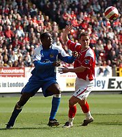 Photo: Tony Oudot.<br />Charlton Athletic v Wigan Athletic. The Barclays Premiership. 31/03/2007.<br />Emile Heskey of Wigan with Luke Young of Charlton
