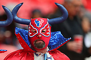 A Texan fan during the NFL game between Houston Texans and Jacksonville Jaguars at Wembley Stadium in London, United Kingdom. 03 November 2019