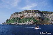 panga bringing divers back to boat, Darwin or Culpepper Island, northern Galapagos Islands, Ecuador, ( Eastern Pacific Ocean )