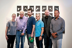 02 October 2014. Jonathan Ferrara Gallery, New Orleans, Louisiana. <br /> Jonathan Ferrara Gallery. 'Guns In The Hands Of Artists' opening. L/R; Artists Sidone Villere, Robert C Tannen, Skylar Fein, Brian Borrello, Jonathan Ferrara and John Barnes. The show brings together over 30 internationally acclaimed artists who took parts from 190 destroyed weapons acquired by the New Orleans Police department  and converted them into art.  <br /> Photo; Charlie Varley/varleypix.com