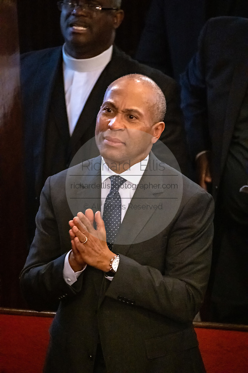 Democratic presidential hopeful Gov. Deval Patrick of Massachusetts during Sunday service at the historic Mother Emanuel AME Church January 1, 2020 in Charleston, South Carolina. The service celebrated Emancipation Day, marking the abolition of slavery in the United States.