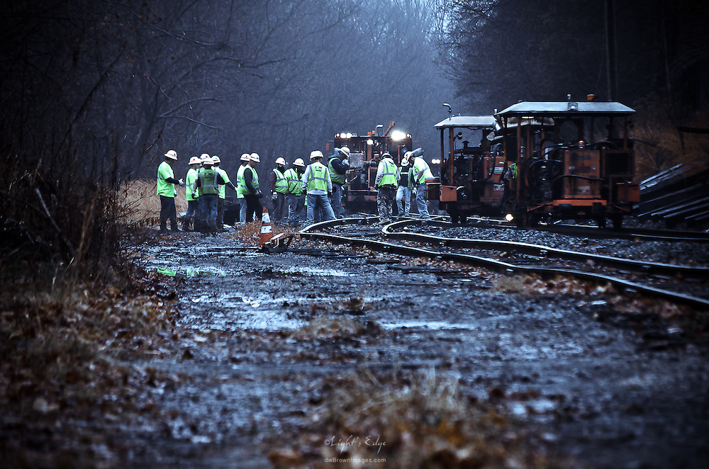 One of the crews working on the railroad tie replacement project happening in Gloucester County, NJ.