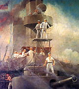 Commodore Dewey at Manila Bay on the USS Olympia. Battle of Manilla 1898