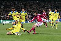 FOOTBALL - UEFA CHAMPIONS LEAGUE 2011/2012 - 1/8 FINAL - 1ST LEG - OLYMPIQUE LYONNAIS v APOEL FC - 14/02/2012 - PHOTO EDDY LEMAISTRE / DPPI - LISANDRO LOPEZ  (OL) AND PAULO JORGE  (APOEL FC)