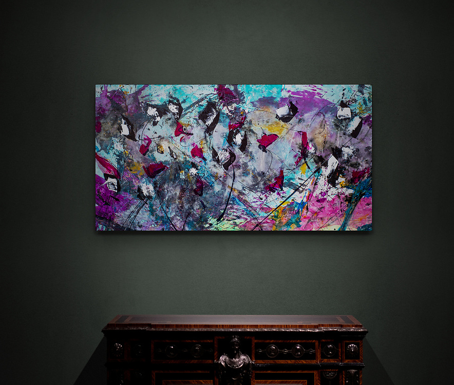 """'PANDA CHA-CHA'  . 28"""" x 53""""  . RochonFineArt.com . Acrylic & Ink on Hand Stretched Canvas. Includes Custom Crafted Frame, Created Exclusively for this Painting by John Henderson."""