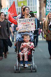 © Licensed to London News Pictures. 04/10/2015. Manchester, UK. Picture shows  the Anti Austerity protest in Manchester expected to attract thousands of people to protest against Austerity cuts at the start of the Conservative Party Conference in the city. Photo credit: Andrew McCaren/LNP