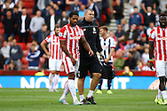 Glen Johnson of Stoke City goes off injured. Barclays Premier League match, Stoke city v West Bromwich Albion at the Britannia stadium in Stoke on Trent, Staffs on Saturday 29th August 2015.<br /> pic by Chris Stading, Andrew Orchard sports photography.