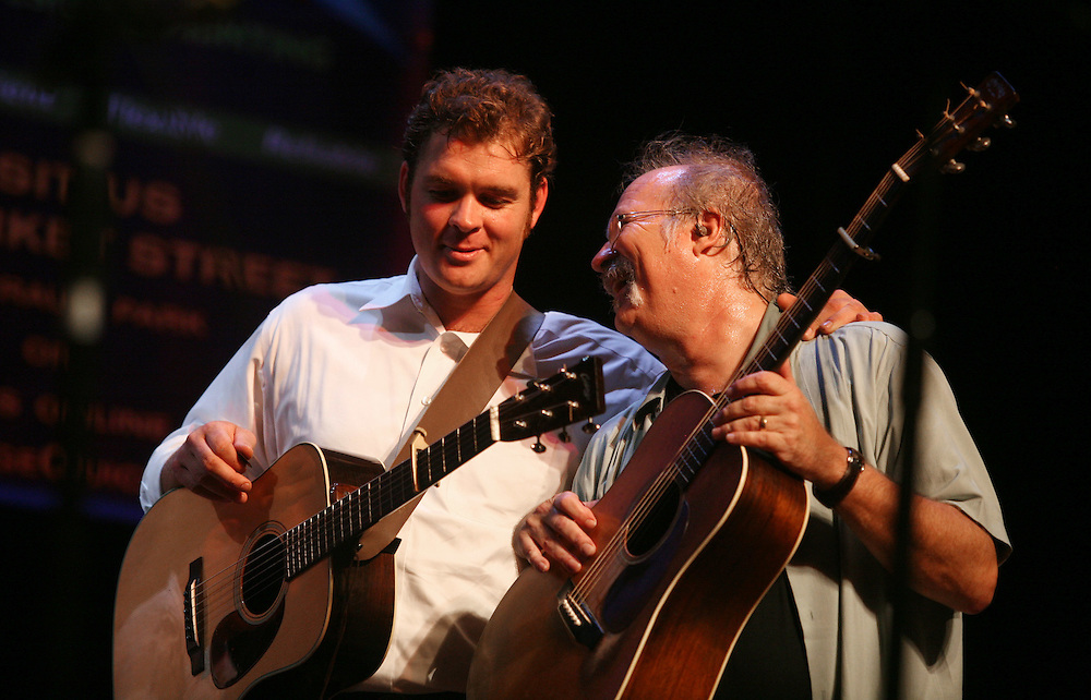 BREVARD, NC - SEPTEMBER 12 :  Dudley Connell (r) of The Seldom Scene performs with Woody Platt of the steep Canyon Rangers in the Mountain Song Festival at The Brevard Music Center on September 12, 2009,  in Brevard, North Carolina, USA. (Photo by Logan Mock-Bunting/Getty Images)
