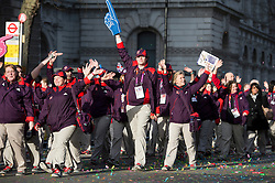 © London News Pictures. 01/01/2013. London, UK.  Games Makers from the 2012 London Olympics take part in the 2012 New Years Parade through the centre London on January 1st, 2013. Photo credit : Ben Cawthra/LNP