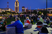 20 SEPTEMBER 2020 - DES MOINES, IOWA: People gather for a vigil for US Supreme Court Justice Ruth Bader Ginburg in Poppajohn Sculpture Park in Des Moines. About 200 people attended the candlelight vigil for Justice Ruth Bader Ginsburg. Ginsburg died from pancreatic cancer on September 18, 2020.        PHOTO BY JACK KURTZ