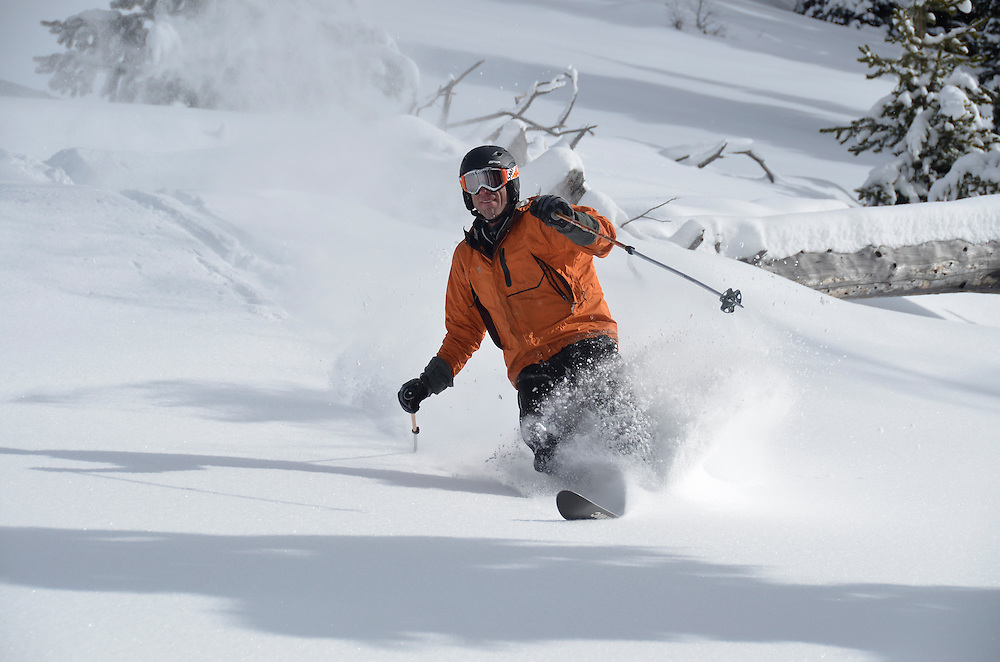 Cat skiing at Anthony Lakes Ski Area in Oregon's Elkhorn Mountains.