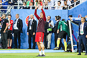 Portuguese team captain Cristiano Ronaldo giving instructions to team mates during Euro Cup Final against France. Portugal beat France on extra-time by 1-0 at Saint Denis stadium in Paris becoming European Champions for the first time.