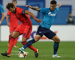September 28, 2017 - Saint Petersburg, Russia - Xabi Prieto of FC Real Sociedad (L) and Leandro Paredes of FC Zenit Saint Petersburg vie for the ball during the UEFA Europa League Group L football match between FC Zenit Saint Petersburg and FC Real Sociedad at Saint Petersburg Stadium on September 28, 2017 in St.Petersburg, Russia. (Credit Image: © Igor Russak/NurPhoto via ZUMA Press)