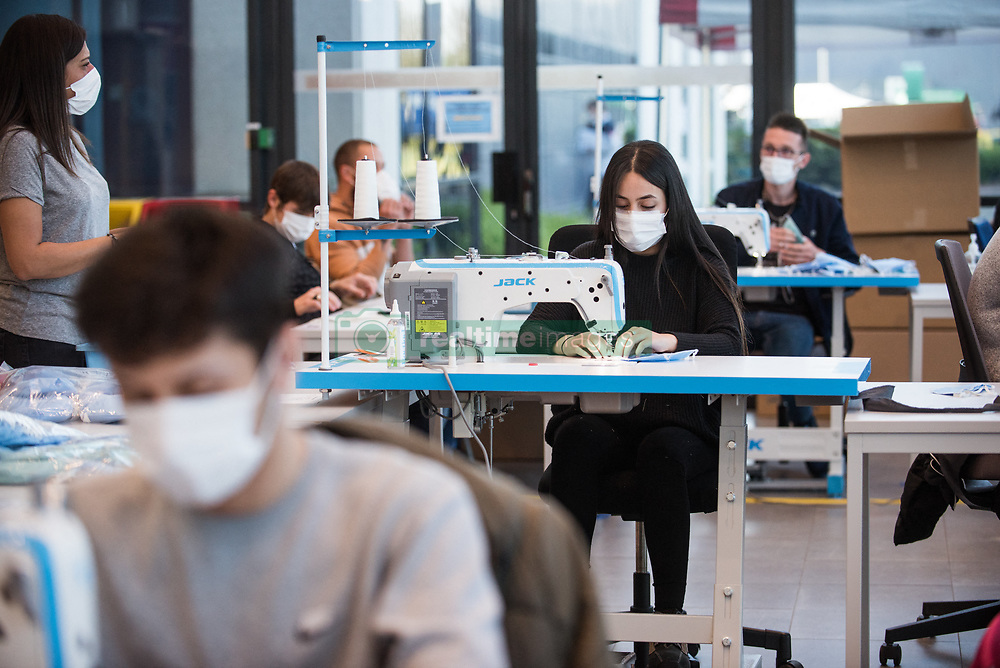 People sew masks on May 7, 2020 in Onnaing, France during COVID-19 crisis. The Toyota factory opened a sewing room to create protective masks inside the hall of the factory with future employees in partnership with the resilience project. Photo by Julie Sebadelha/ABACAPRESS.COM