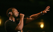 John Legend rehearses  at the Democratic Convention in Denver, Colorado on August 25,2008. Photograph by Dennis Brack