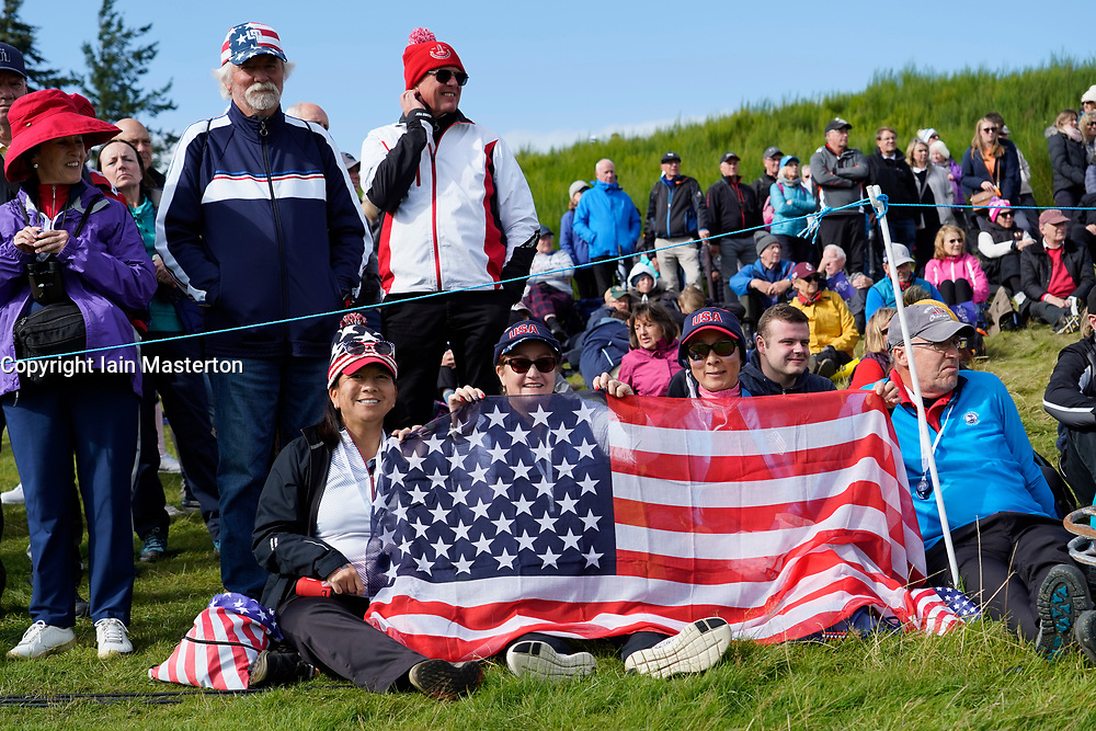 Auchterarder, Scotland, UK. 15 September 2019. Sunday Singles matches on final day  at 2019 Solheim Cup on Centenary Course at Gleneagles. Pictured; Team USA fans beside fairway. Iain Masterton/Alamy Live News