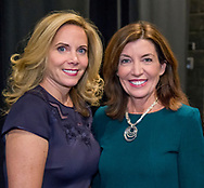 Hempstead, New York, USA. January 1, 2018. L-R, Hempstead Town Supervisor LAURA GILLEN and New York State Lt. Governor KATHY HOCHUL pose for photo shortly before Lt. Gov. swears-in Gillen, at Hofstra University.
