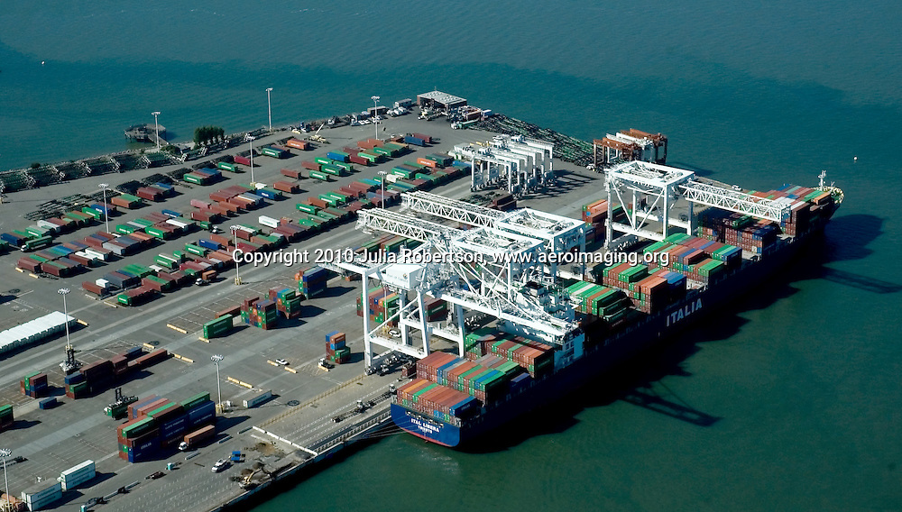 Aerial View of the ITALIA cargo Ship at  Port of Oakland, California