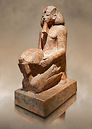 Ushabti. 18 dynasty Egyptian kneeling sculpture of queen Hatshepsut with a cultic vessel, 1475BC Deir el-Bahari . Neues Reiche Museum, Berlin. Cat No AM22883 .<br /> <br /> If you prefer to buy from our ALAMY PHOTO LIBRARY  Collection visit : https://www.alamy.com/portfolio/paul-williams-funkystock/ancient-egyptian-art-artefacts.html  . Type -   Neues    - into the LOWER SEARCH WITHIN GALLERY box. Refine search by adding background colour, subject etc<br /> <br /> Visit our ANCIENT WORLD PHOTO COLLECTIONS for more photos to download or buy as wall art prints https://funkystock.photoshelter.com/gallery-collection/Ancient-World-Art-Antiquities-Historic-Sites-Pictures-Images-of/C00006u26yqSkDOM