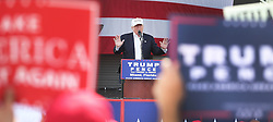 Republican presidential candidate Donald Trump speaks during a campaign rally at Bayfront Park Amphitheater in Miami, FL, USA, on Wednesday, November 2, 2016. Photo by Carline Jean/Sun Sentinel/TNS/ABACAPRESS.COM  | 569659_003 Miami Etats-Unis United States