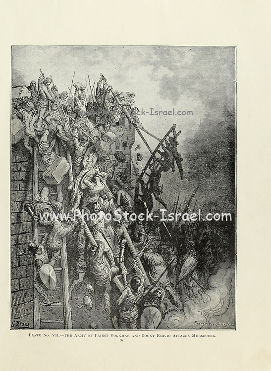 The army of Priest Volkmar and Count Emicio attacks Mersbourg [Merseburg] Plate VII from the book Story of the crusades. with a magnificent gallery of one hundred full-page engravings by the world-renowned artist, Gustave Doré [Gustave Dore] by Boyd, James P. (James Penny), 1836-1910. Published in Philadelphia 1892