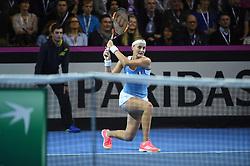 French Fed player Kristina Mladenovic against Czech Karoline Plishkova during match1 at the final round tie against Czech Republic at the Rhenus Arena, Strasbourg, France on november, 12, 2016. Photo by Corinne Dubreuil/ABACAPRESS.COM