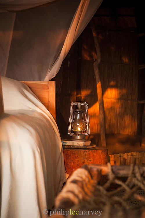 Guest room detail, Luwi Bush Camp, South Luangwa National Park. Zambia, Africa
