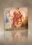 """Fresco of Venus sitting restored as Roma  known as the """"Dea Barberini"""" (""""Barberini goddess""""), dating from the first quarter of the fourth century. A.D, excavated near to Baptistery of St. John Lateran , Rome Museo Nazionale Romano ( National Roman Museum), Rome, Italy. Against an art background. .<br /> <br /> If you prefer to buy from our ALAMY PHOTO LIBRARY  Collection visit : https://www.alamy.com/portfolio/paul-williams-funkystock/national-roman-museum-rome-fresco.html<br /> <br /> Visit our ROMAN ART & HISTORIC SITES PHOTO COLLECTIONS for more photos to download or buy as wall art prints https://funkystock.photoshelter.com/gallery-collection/The-Romans-Art-Artefacts-Antiquities-Historic-Sites-Pictures-Images/C0000r2uLJJo9_s0"""