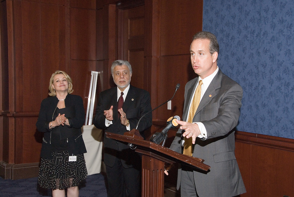 Mario Diaz-Balart (FL-25)speaks at the Reception on the HillasUSHCC Vice-Chair Elizabeth Gallagher and ChairmanDavid C. Lizárraga look on,during the United States Hispanic Chamber of Commerce's 19th Annual Legislative Conference, in Washington, DC, Wednesday, March 11, 2009.