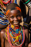 Girl of Arbore tribe in their village, Omo Valley, Ethiopia.