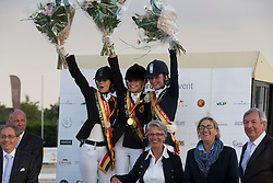Podium BK Ponies: 1 Arl Lavinia (BEL), 2 Gysels Jamina (BEL), 3 Peytier Elle (BEL)<br /> BK Ponies<br /> Flanders Dressage Event Hulsterlo 2012<br /> © Dirk Caremans