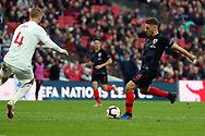 Croatia's Nikola Vlasic with a shot on goal during the UEFA Nations League match between England and Croatia at Wembley Stadium, London, England on 18 November 2018.