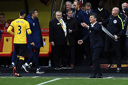 27 November 2016 - Premier League - Watford v Stoke City - Walter Mazzarri manager of Watford reacts as Miguel Angel Britos leaves the pitch having been sent off - Photo: Marc Atkins / Offside.