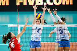 Hande Baladin of Turkey vs Iza Mlakar and Sasa Planinsec of Slovenia during the volleyball match between National team of Turkey and Slovenia in Gold Medal game of Womens U23 World Championship 2017, on September 17, 2017 in SRC Stozice, Ljubljana, Slovenia. Photo by Morgan Kristan / Sportida