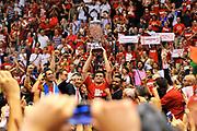 DESCRIZIONE : Campionato 2013/14 Finale GARA 7 Olimpia EA7 Emporio Armani Milano - Montepaschi Mens Sana Siena Scudetto<br /> GIOCATORE : Festa Esultanza Tifosi Premiazione Nicolo' Melli<br /> CATEGORIA : Pubblico Festa Esultanza Panoramica Award Premio Coppa<br /> SQUADRA : Olimpia EA7 Emporio Armani Milano<br /> EVENTO : LegaBasket Serie A Beko Playoff 2013/2014<br /> GARA : Olimpia EA7 Emporio Armani Milano - Montepaschi Mens Sana Siena<br /> DATA : 27/06/2014<br /> SPORT : Pallacanestro <br /> AUTORE : Agenzia Ciamillo-Castoria / Luigi Canu<br /> Galleria : LegaBasket Serie A Beko Playoff 2013/2014<br /> Fotonotizia : DESCRIZIONE : Campionato 2013/14 Finale GARA 7 Olimpia EA7 Emporio Armani Milano - Montepaschi Mens Sana Siena<br /> Predefinita :