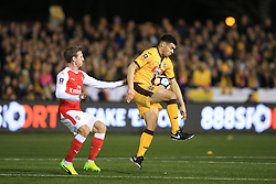 20 February 2017 - The FA Cup - (5th Round) - Sutton United v Arsenal - Maxime Biamou of Sutton United in action with Nacho Monreal of Arsenal - Photo: Marc Atkins / Offside.
