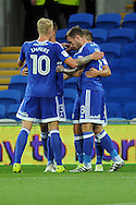 Cardiff CIty's Lex Immers (10) and other players celebrate an own goal scored by Blackburn's Shane Duffy (out of shot).  EFL Skybet championship match, Cardiff city v Blackburn Rovers at the Cardiff city stadium in Cardiff, South Wales on Wednesday 17th August 2016.<br /> pic by Carl Robertson, Andrew Orchard sports photography.