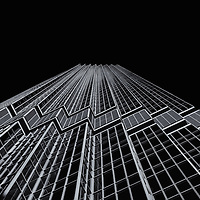 """""""IDS Tower Minneapolis"""" 4 mono<br /> <br /> A pure black and white image of the beautiful IDS Tower in Minneapolis!<br /> <br /> Cities and Skyscrapers by Rachel Cohen"""