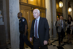 July 28, 2017 - Washington, District Of Columbia, USA - Sen. JOHN MCCAIN (R-AZ) walks to the senate chamber prior to voting against a 'Skinny Repeal' bill which would repeal The Affordable Care Act. The republican bill failed 49-51 with McCain and 2 other senate republicans voting 'no' alongside democrats. (Credit Image: © Alex Edelman via ZUMA Wire)