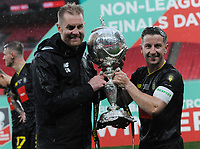 Football - 2019 / 2020 Buildbase FA Trophy - Final - Concord Rangers vs Harrogate Town - Wembley Stadium<br /> <br /> Manager Simon Weaver and Harrogate Captain, Josh Falkingham with the trophy<br /> <br /> Credit : COLORSPORT/ANDREW COWIE