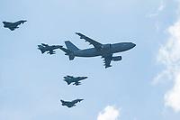 16 MAY 2014, BERLIN/GERMANY:<br /> Tankflugzeug Airbus A310-304 MRTT (Multi Role Transport Tanker) der Bundeswehr, in Begleitung von Tronado und Eurofighter Kampfflugzeugen, Internationale Luftfahrt Ausstellung, ILA, Flughafen Schoenefeld<br /> IMAGE: 20140516-01-011<br /> KEYWORDS: Flugzeug, plane, Luftwaffe