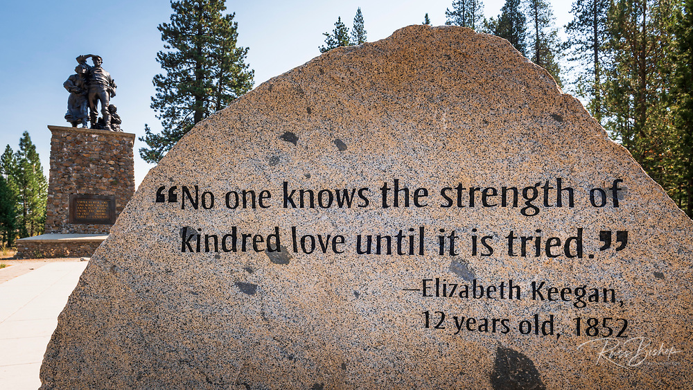 Interpretive stone at Donner Memorial State Park, Truckee, California USA