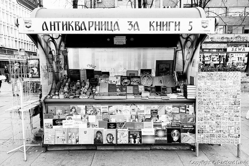 Book shop on the street of Skopje, Macedonia.