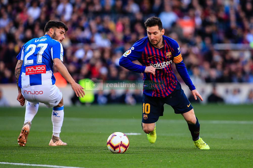March 30, 2019 - Barcelona, Spain - LEO MESSI of FC Barcelona during the 'Derby' of La Liga match between FC Barcelona and RCD Espanyol in Camp Nou Stadium. Barcelona wins 2-0. (Credit Image: © AFP7 via ZUMA Wire)