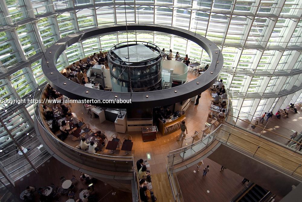 View of elevated restaurant island inside Tokyo National Art Center in Roppongi Tokyo Japan