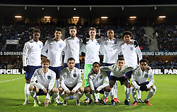 England U21 team photo during the international friendly match at the Blue Water Arena, Esbjerg. PRESS ASSOCIATION Photo. Picture date: Tuesday November 20, 2018. See PA story SOCCER Denmark U21. Photo credit should read: Simon Cooper/PA Wire. RESTRICTIONS: Use subject to FA restrictions. Editorial use only. Commercial use only with prior written consent of the FA. No editing except cropping.