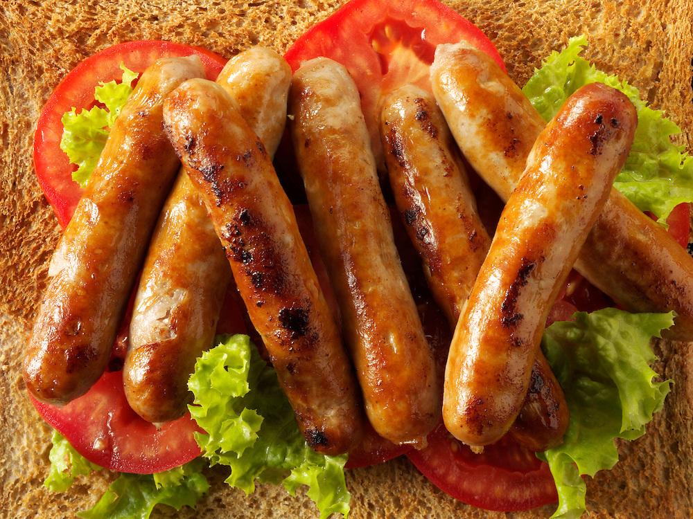 Traditional chipolatta pork sausages