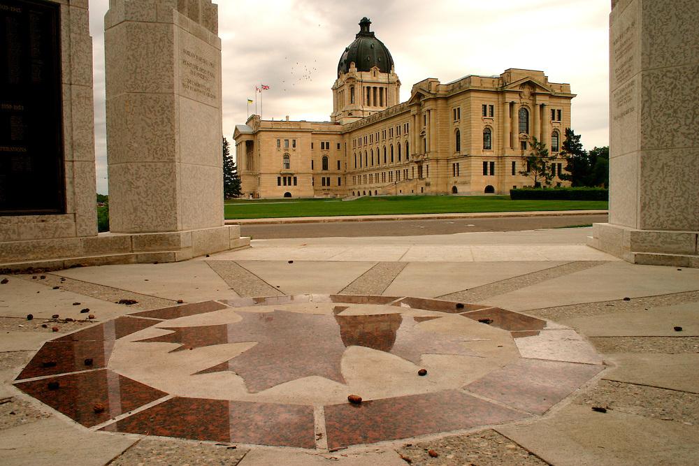 Saskatchewan War Memorial in Wascana Centre with Saskatchewan Legislature in background, Regina