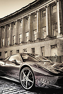 Classic Ferrari parked in the Royal Crescent in Bath England
